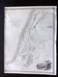Holy Land C1850 Antique Map. Canaan or Palestine. Damascus Inset